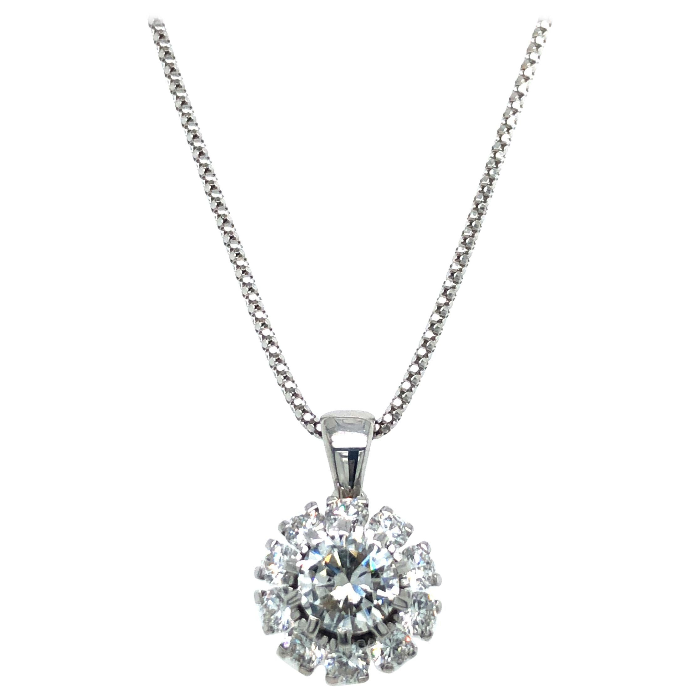 Diamond Pendant Necklace in 18 Karat White Gold