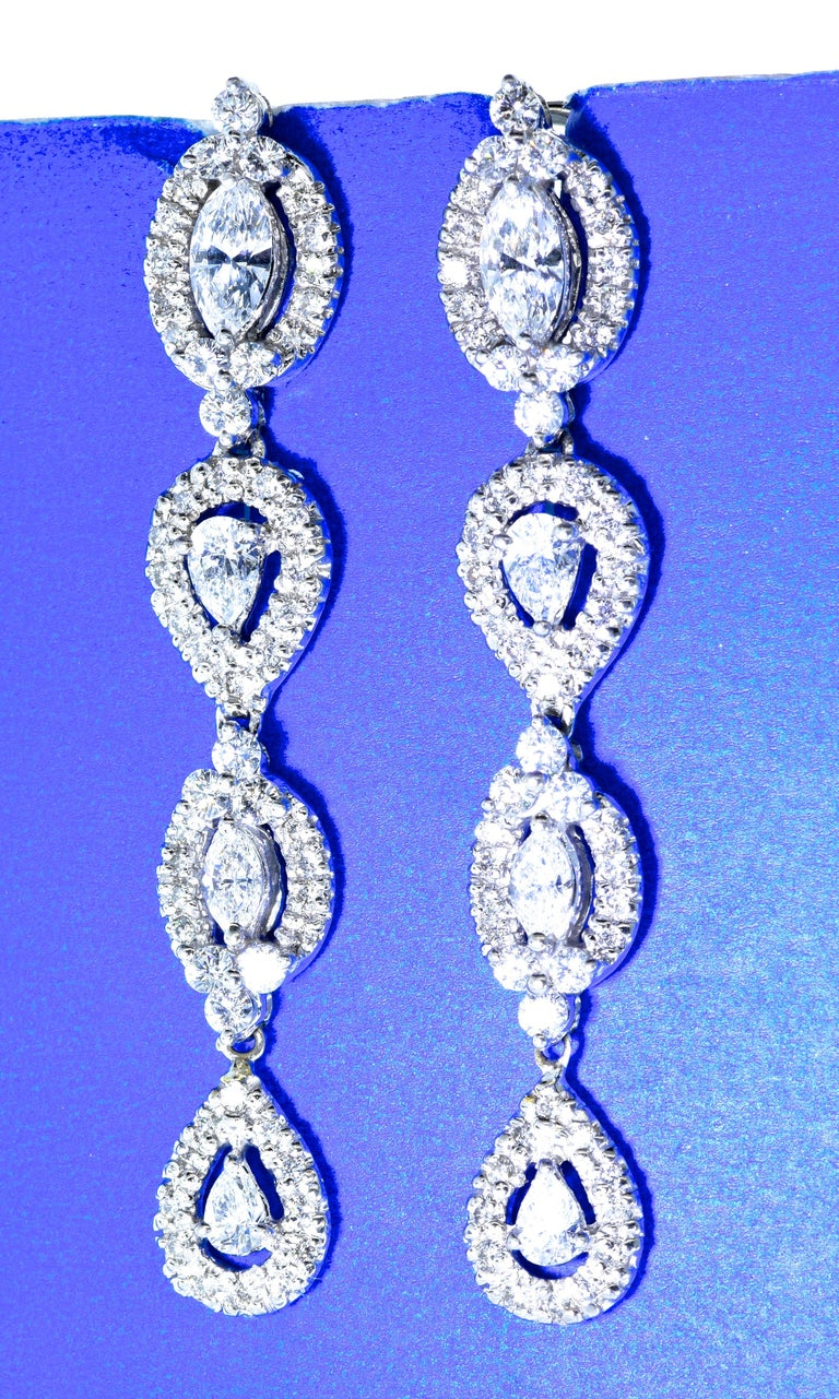 Contemporary Diamond Pendant Style Long Earrings For Sale