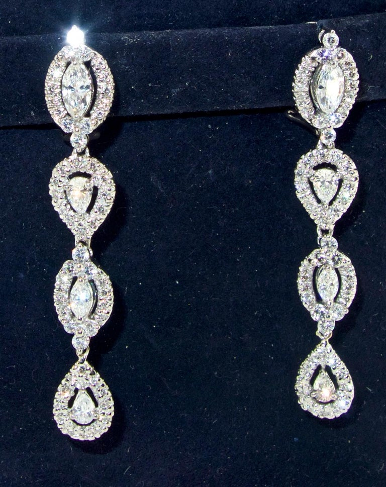 Diamond Pendant Style Long Earrings In Excellent Condition For Sale In Aspen, CO