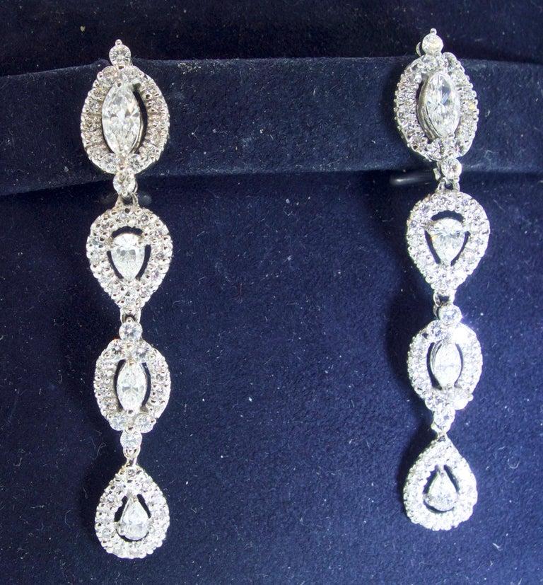 Women's or Men's Diamond Pendant Style Long Earrings For Sale