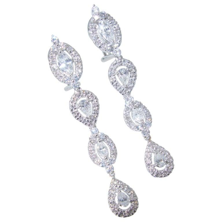 Diamond Pendant Style Long Earrings For Sale 1