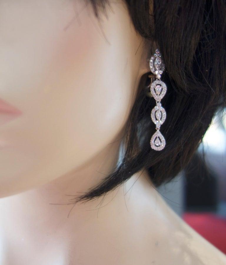 Diamond Pendant Style Long Earrings For Sale 2