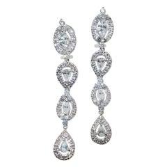 Diamond Pendant Style Long Earrings