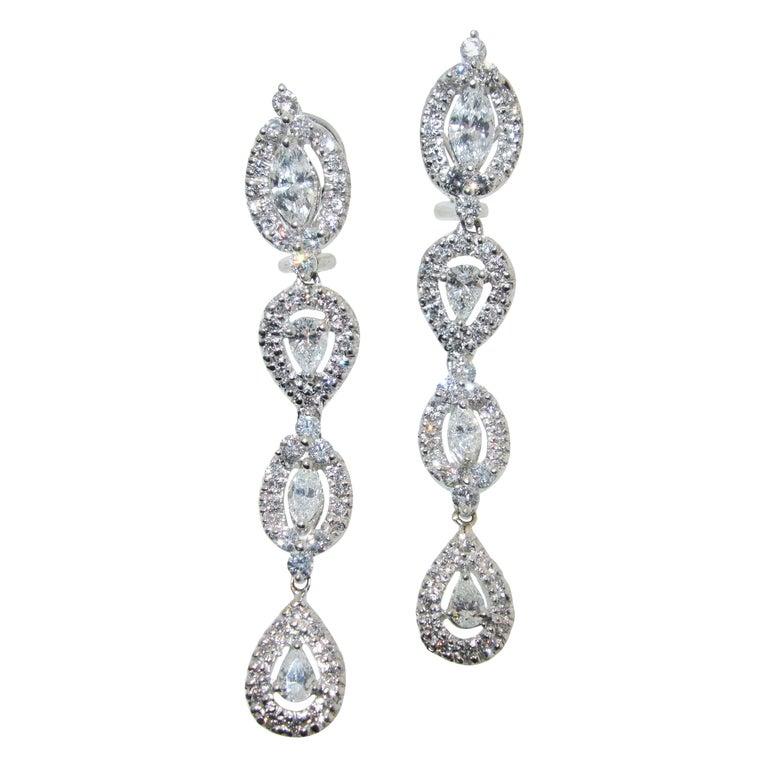Diamond Pendant Style Long Earrings For Sale