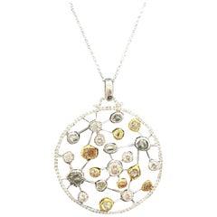Diamond Pendant with Polished and Rough Diamond 18 Karat Gold 8.01 TCW