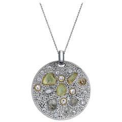 Diamond Pendant with Rough and Polished Diamonds Art Work Piece 18 Karat Gold
