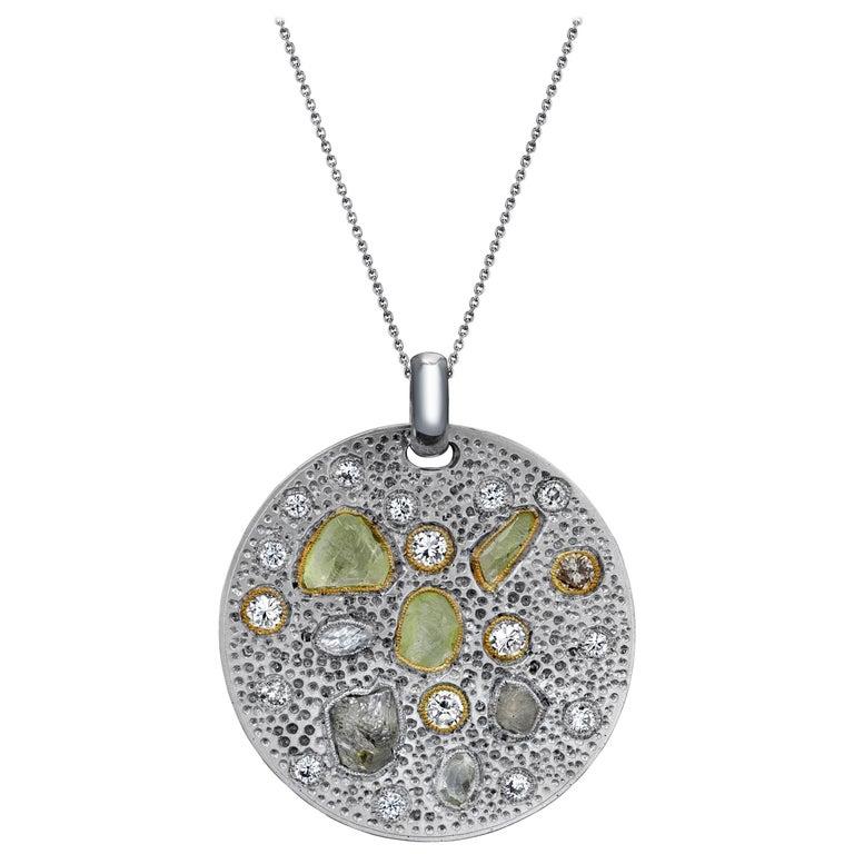 Diamond Pendant with Rough and Polished Diamonds Art Work Piece 18 Karat Gold For Sale