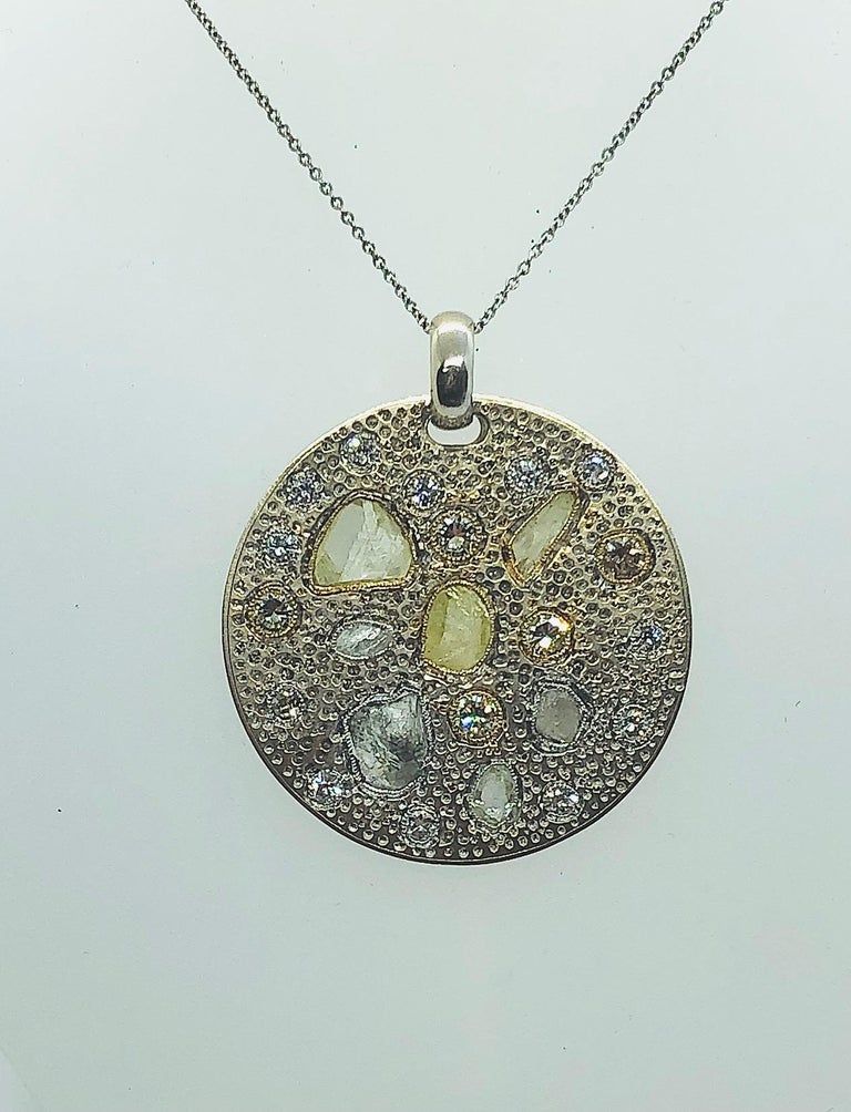 Contemporary Diamond Pendant with Rough and Polished Diamonds Art Work Piece 18 Karat Gold For Sale
