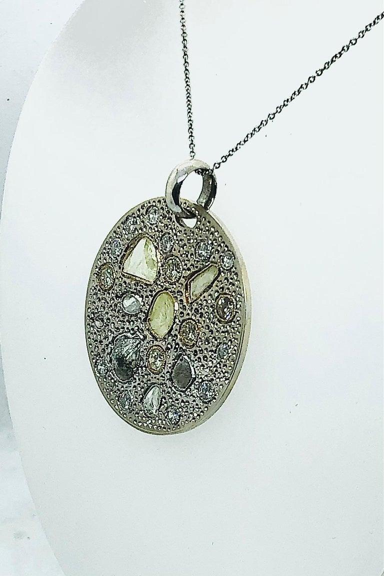 Rough Cut Diamond Pendant with Rough and Polished Diamonds Art Work Piece 18 Karat Gold For Sale