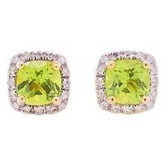 Diamond Peridot Earrings Cushion Peridot Diamond Halo 14 Karat Yellow Gold Studs