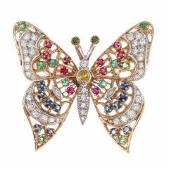 Diamond Peridot Emeralds Ruby Sapphire Gold Butterfly Brooch