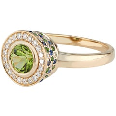Diamond Peridot, Tsavorite and Sapphire Ring