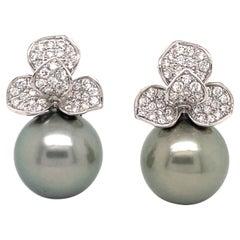 HARBOR D. Diamond Petal South Sea Pearl Drop Earrings 0.98 Carat