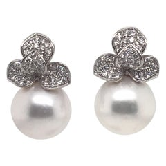 Diamond Petal South Sea Pearl Drop Earrings 0.98 Carat 18 Karat White Gold
