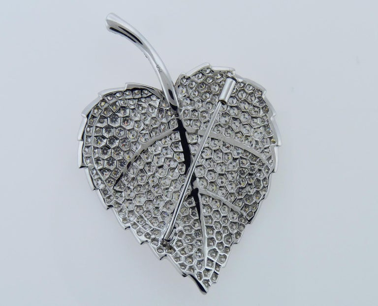 Contemporary Diamond Pin/Brooch in 18 Karat White Gold For Sale