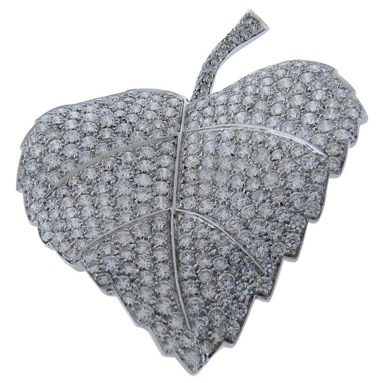 Diamond Pin/Brooch in 18 Karat White Gold For Sale