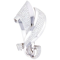 Diamond Pin Brooch in White Gold