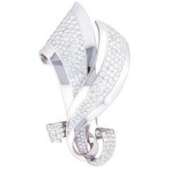 Ella Gafter Diamond White Gold Leaf Pin Brooch