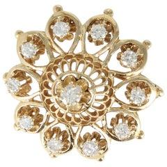 Diamond Pin/Pendant in 14 Karat Yellow Gold, circa 1940