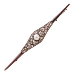 Diamond Pin with Pearl of Art Deco, 1920s