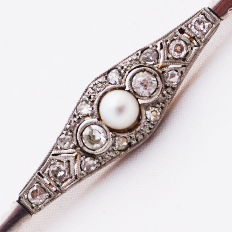 Diamond Pin with Pearl of Art Deco, 1920s For Sale 12
