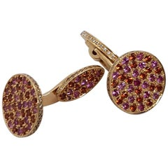 Diamond Pink-Orange Sapphire Rose Gold Cufflinks