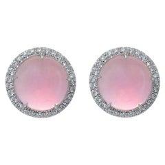 Diamond Pink Quartz 18KT White Gold Made in Italy Earrings