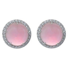 Diamond Pink Quartz Cabochon Cut 18KT White Gold Earrings Made in Italy