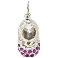Diamond Pink Sapphire 18 Karat Gold Baby Shoe Charm