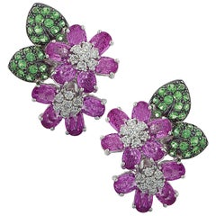 Diamond, Pink Sapphire and Tsavorite Flower Earrings