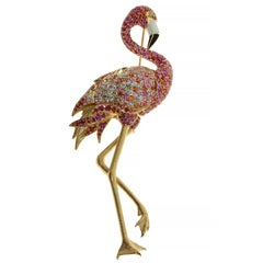 Diamond Pink Sapphire 18 Karat Yellow Gold Flamingo Brooch