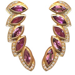 Diamond Pink Tourmaline Gold Stud Earrings by Lauren Harper