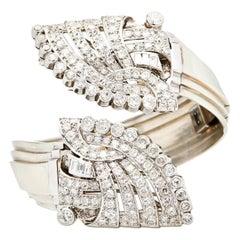 Diamond Platinum/18 Karat Art Deco Detachable Cuff Bracelet and Dress Clips