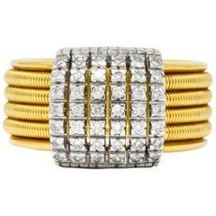 Diamond Platinum 18 Karat Yellow Gold Italian Coil Ring