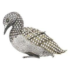 Diamond, Platinum and Gold Duck Brooch