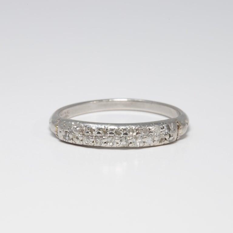 Round Cut Diamond Platinum Anniversary Style Ring, Band, 20 Diamonds, .2 Carat For Sale