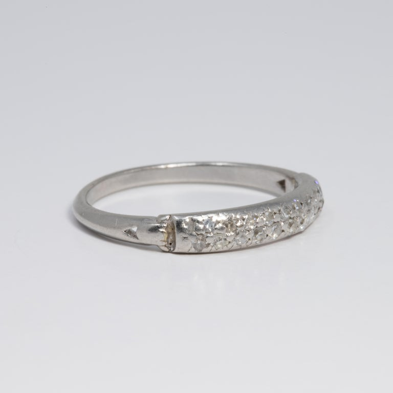 Diamond Platinum Anniversary Style Ring, Band, 20 Diamonds, .2 Carat In Good Condition For Sale In Milford, DE
