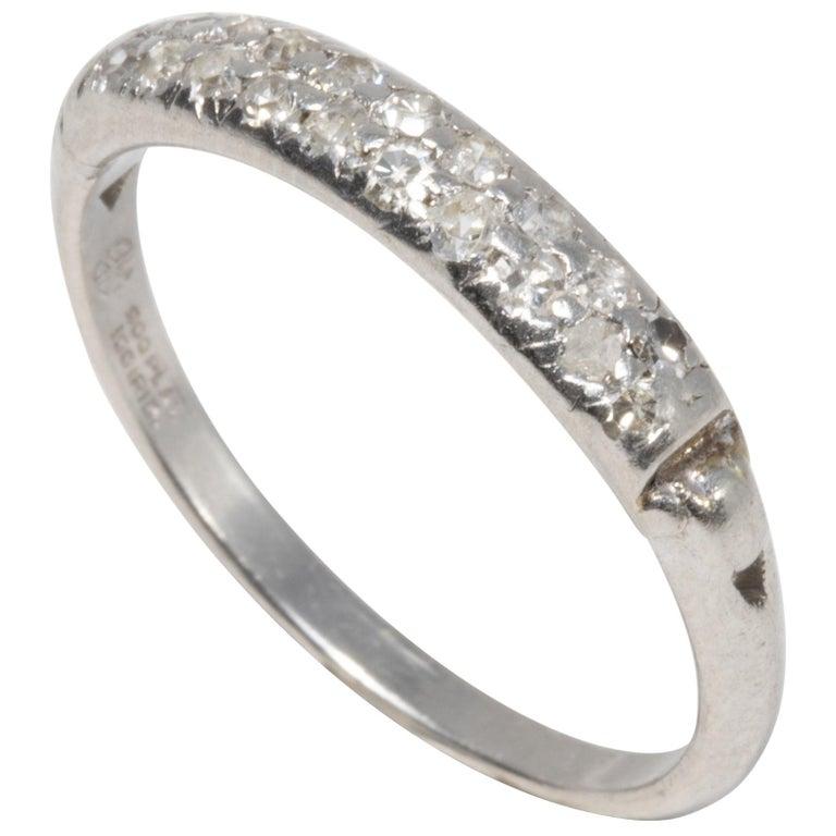 Diamond Platinum Anniversary Style Ring, Band, 20 Diamonds, .2 Carat For Sale