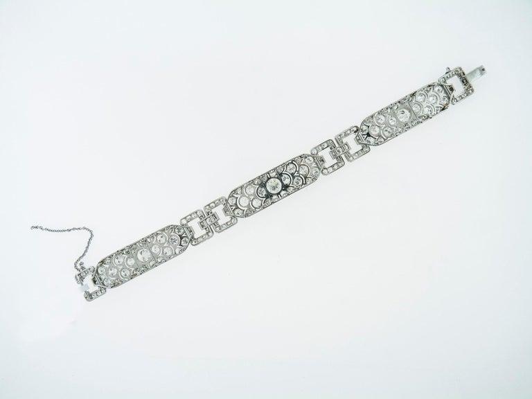 Art Deco Diamond Platinum Bracelet, France, 1930s For Sale