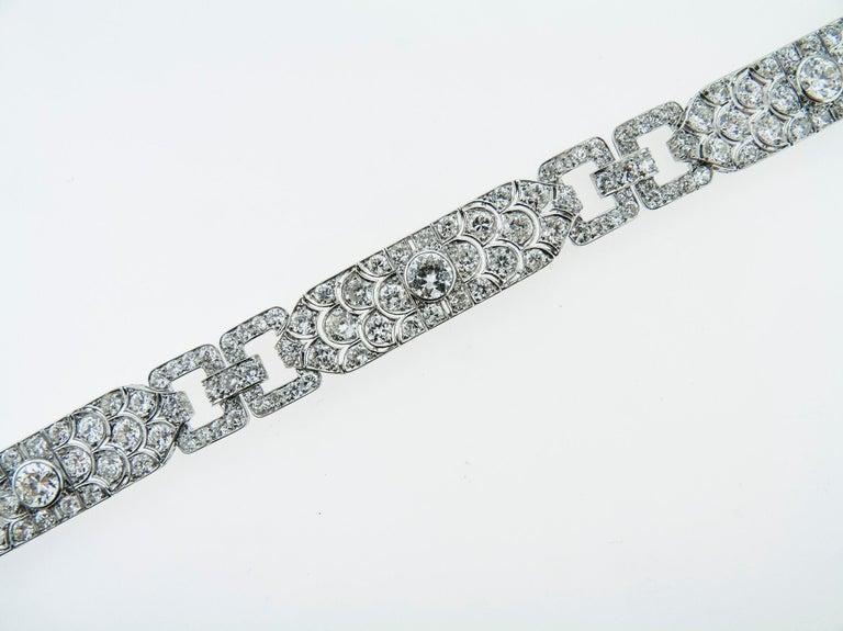 Mixed Cut Diamond Platinum Bracelet, France, 1930s For Sale