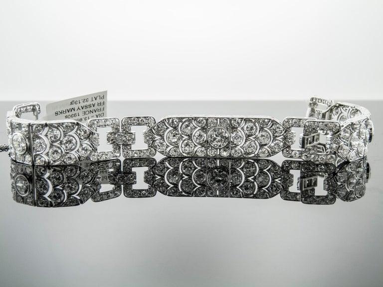 Women's or Men's Diamond Platinum Bracelet, France, 1930s For Sale