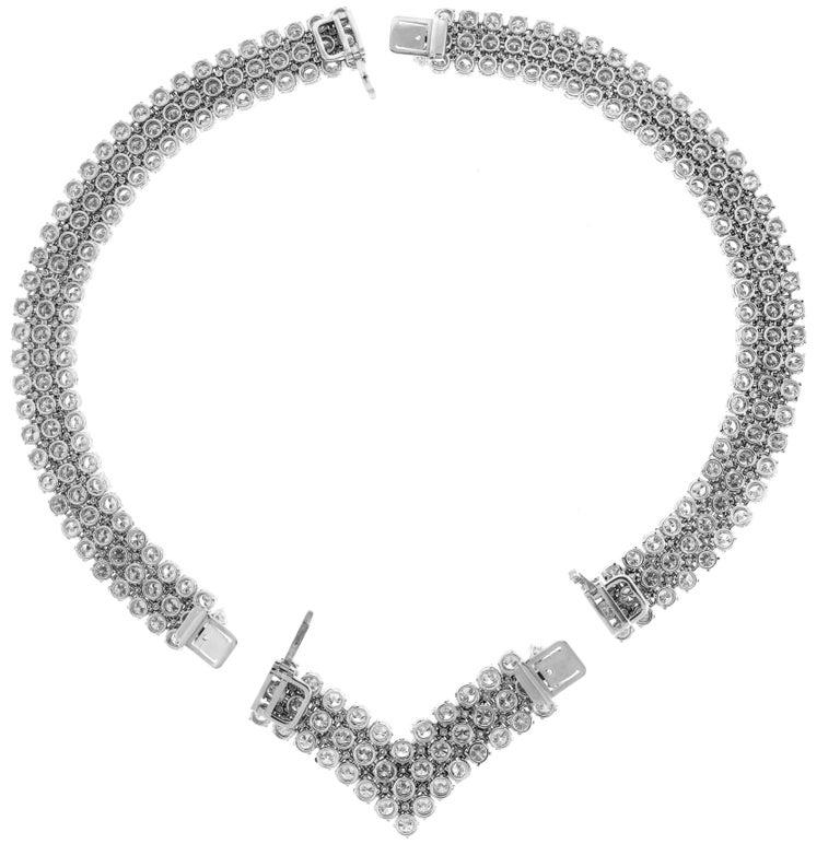 Round Cut Diamond Platinum Choker Necklace Bracelet For Sale