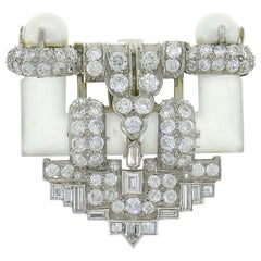 Diamond Platinum Clip Brooch Pin Rock Crystal Pearl, Art Deco, 1930s