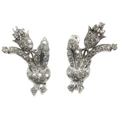 Diamond Platinum Clip-On Flower Earrings, circa 1940