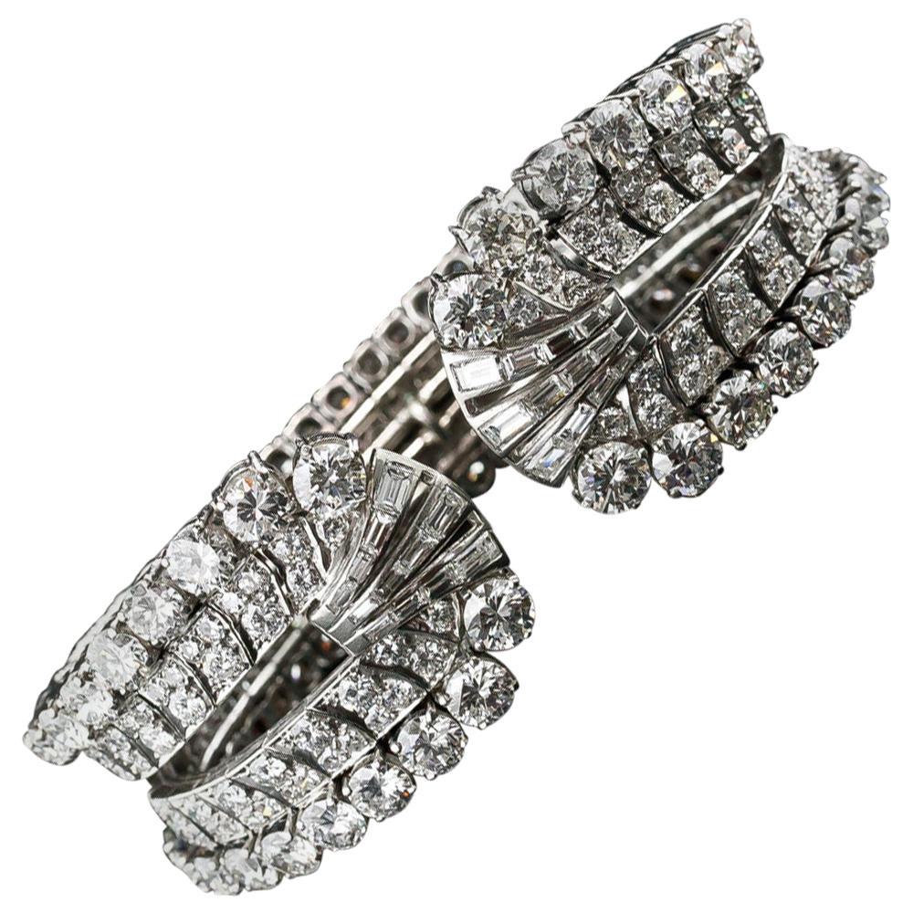 Diamond, Platinum Cuff Bracelet, circa 1950s by Eliakim Le Caire