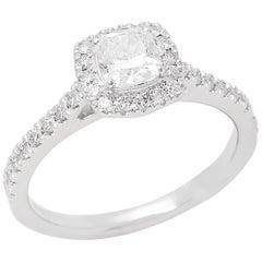 Diamond Platinum Cushion Cut Diamond Halo Cluster Ring