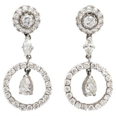 Diamond Platinum Art Deco Style Dangle Earrings