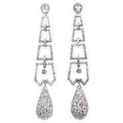 Diamond Platinum Dangling Earrings