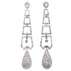 Diamond Platinum Dangling Earrings