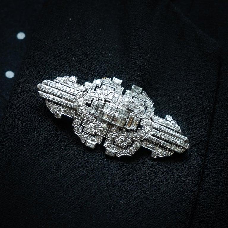 Art Deco Diamond Platinum Double Clip Brooch For Sale